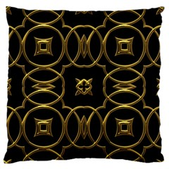 Black And Gold Pattern Elegant Geometric Design Large Flano Cushion Case (Two Sides)