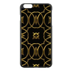 Black And Gold Pattern Elegant Geometric Design Apple iPhone 6 Plus/6S Plus Black Enamel Case