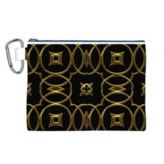 Black And Gold Pattern Elegant Geometric Design Canvas Cosmetic Bag (L)