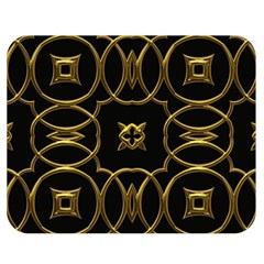 Black And Gold Pattern Elegant Geometric Design Double Sided Flano Blanket (Medium)