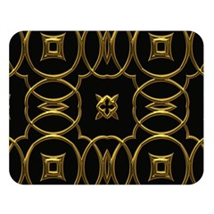 Black And Gold Pattern Elegant Geometric Design Double Sided Flano Blanket (Large)