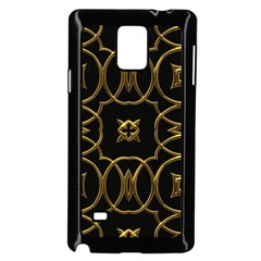 Black And Gold Pattern Elegant Geometric Design Samsung Galaxy Note 4 Case (Black)
