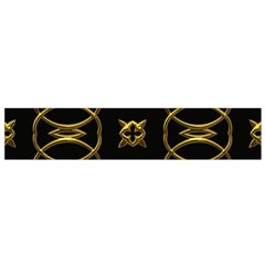 Black And Gold Pattern Elegant Geometric Design Flano Scarf (Small)