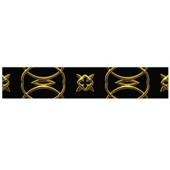 Black And Gold Pattern Elegant Geometric Design Flano Scarf (Large)