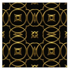 Black And Gold Pattern Elegant Geometric Design Large Satin Scarf (Square)