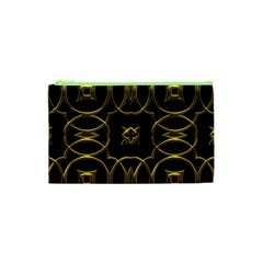 Black And Gold Pattern Elegant Geometric Design Cosmetic Bag (XS)