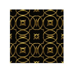 Black And Gold Pattern Elegant Geometric Design Small Satin Scarf (Square)