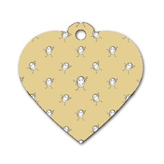 Happy Character Kids Motif Pattern Dog Tag Heart (One Side)