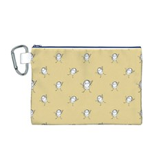 Happy Character Kids Motif Pattern Canvas Cosmetic Bag (M)