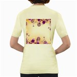 Background Floral Background Women s Yellow T-Shirt Back