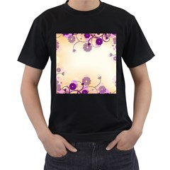 Background Floral Background Men s T-Shirt (Black) (Two Sided)