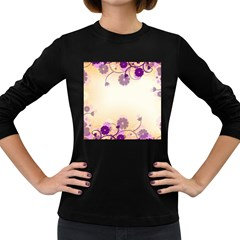 Background Floral Background Women s Long Sleeve Dark T-Shirts