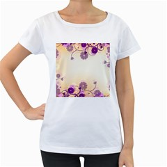 Background Floral Background Women s Loose-Fit T-Shirt (White)