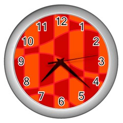Background Texture Pattern Colorful Wall Clocks (silver)