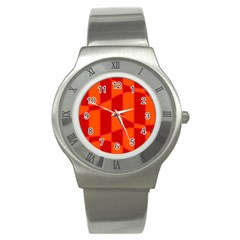 Background Texture Pattern Colorful Stainless Steel Watch