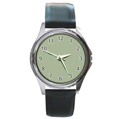 Background Pattern Green Round Metal Watch