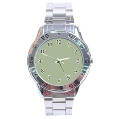 Background Pattern Green Stainless Steel Analogue Watch