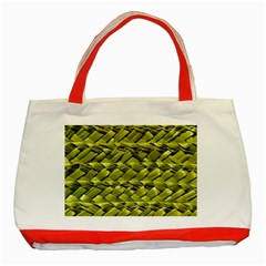 Basket Woven Braid Wicker Classic Tote Bag (Red)