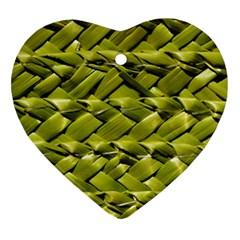 Basket Woven Braid Wicker Heart Ornament (Two Sides)