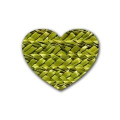 Basket Woven Braid Wicker Rubber Coaster (heart)