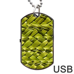 Basket Woven Braid Wicker Dog Tag USB Flash (Two Sides)