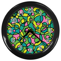 Circle Background Background Texture Wall Clocks (Black)