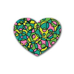 Circle Background Background Texture Rubber Coaster (Heart)
