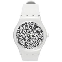Camouflage Tarn Texture Pattern Round Plastic Sport Watch (m)
