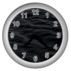 Dark Lake Ocean Pattern River Sea Wall Clocks (Silver)