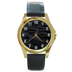 Dark Lake Ocean Pattern River Sea Round Gold Metal Watch