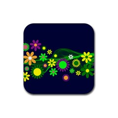 Flower Power Flowers Ornament Rubber Square Coaster (4 pack)