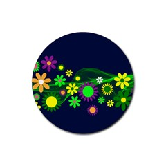 Flower Power Flowers Ornament Rubber Round Coaster (4 pack)