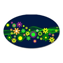 Flower Power Flowers Ornament Oval Magnet