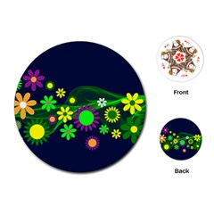 Flower Power Flowers Ornament Playing Cards (round)