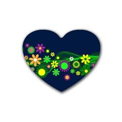 Flower Power Flowers Ornament Rubber Coaster (Heart)