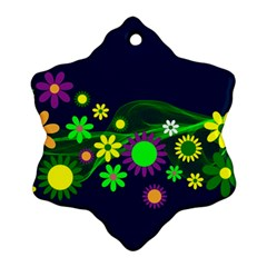 Flower Power Flowers Ornament Snowflake Ornament (Two Sides)