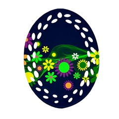 Flower Power Flowers Ornament Oval Filigree Ornament (Two Sides)