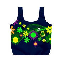 Flower Power Flowers Ornament Full Print Recycle Bags (M)