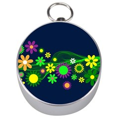 Flower Power Flowers Ornament Silver Compasses