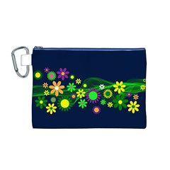 Flower Power Flowers Ornament Canvas Cosmetic Bag (M)