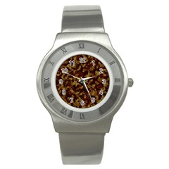 Camouflage Tarn Forest Texture Stainless Steel Watch