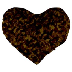 Camouflage Tarn Forest Texture Large 19  Premium Flano Heart Shape Cushions