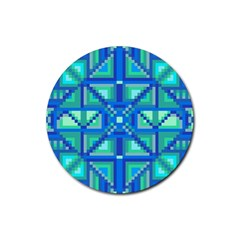 Grid Geometric Pattern Colorful Rubber Coaster (Round)