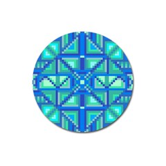Grid Geometric Pattern Colorful Magnet 3  (Round)