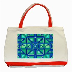 Grid Geometric Pattern Colorful Classic Tote Bag (Red)