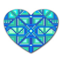 Grid Geometric Pattern Colorful Heart Mousepads
