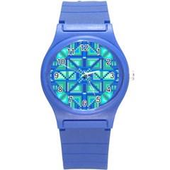 Grid Geometric Pattern Colorful Round Plastic Sport Watch (s)