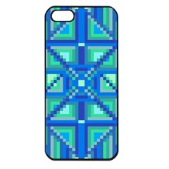 Grid Geometric Pattern Colorful Apple iPhone 5 Seamless Case (Black)