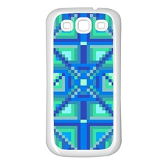 Grid Geometric Pattern Colorful Samsung Galaxy S3 Back Case (White)