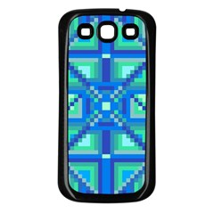 Grid Geometric Pattern Colorful Samsung Galaxy S3 Back Case (Black)